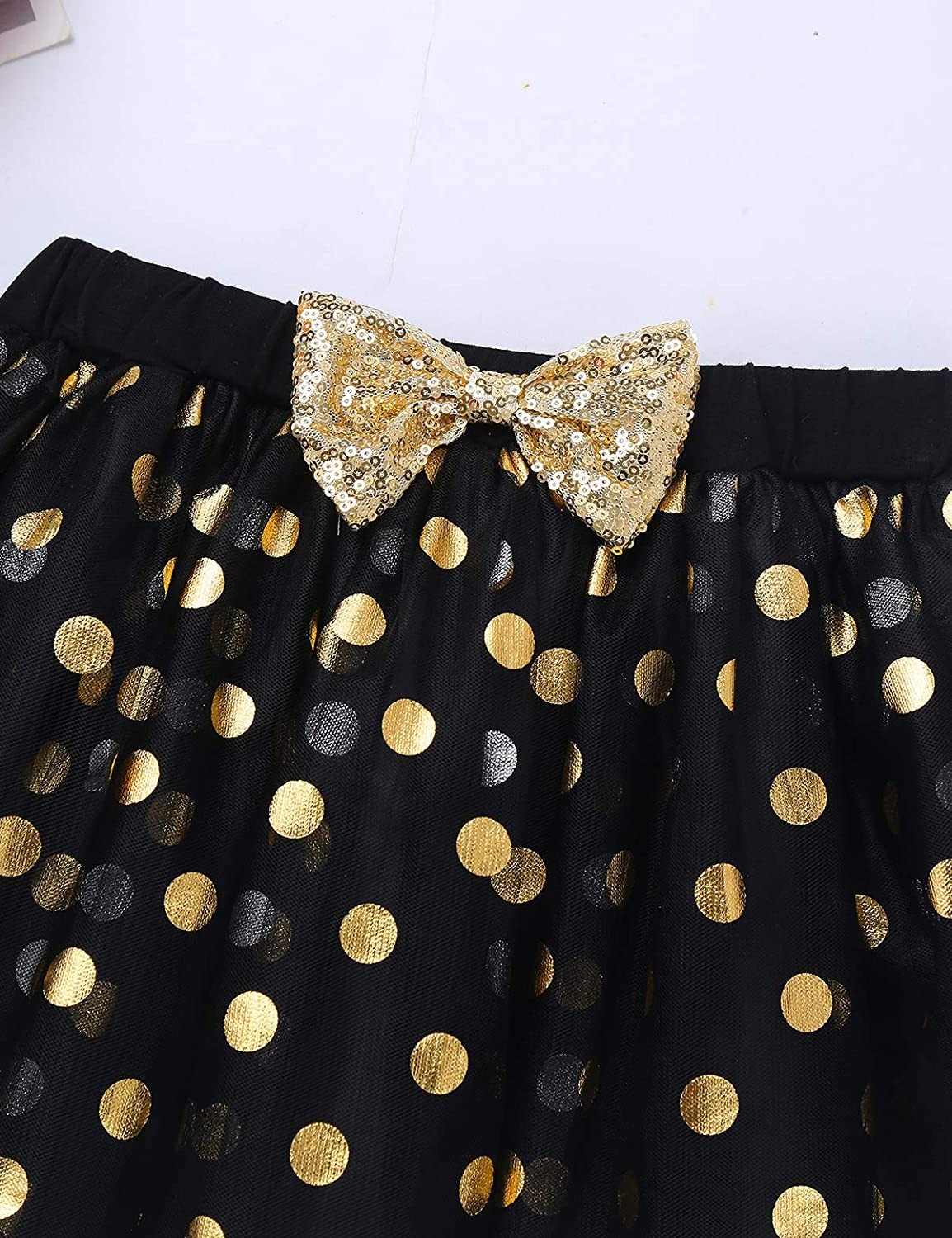 CHICTRY Toddler Little Girls Fancy Sequin Polka Dots Birthday Outfit Racer-Back Shirt with Mesh Tutu Skirt Set