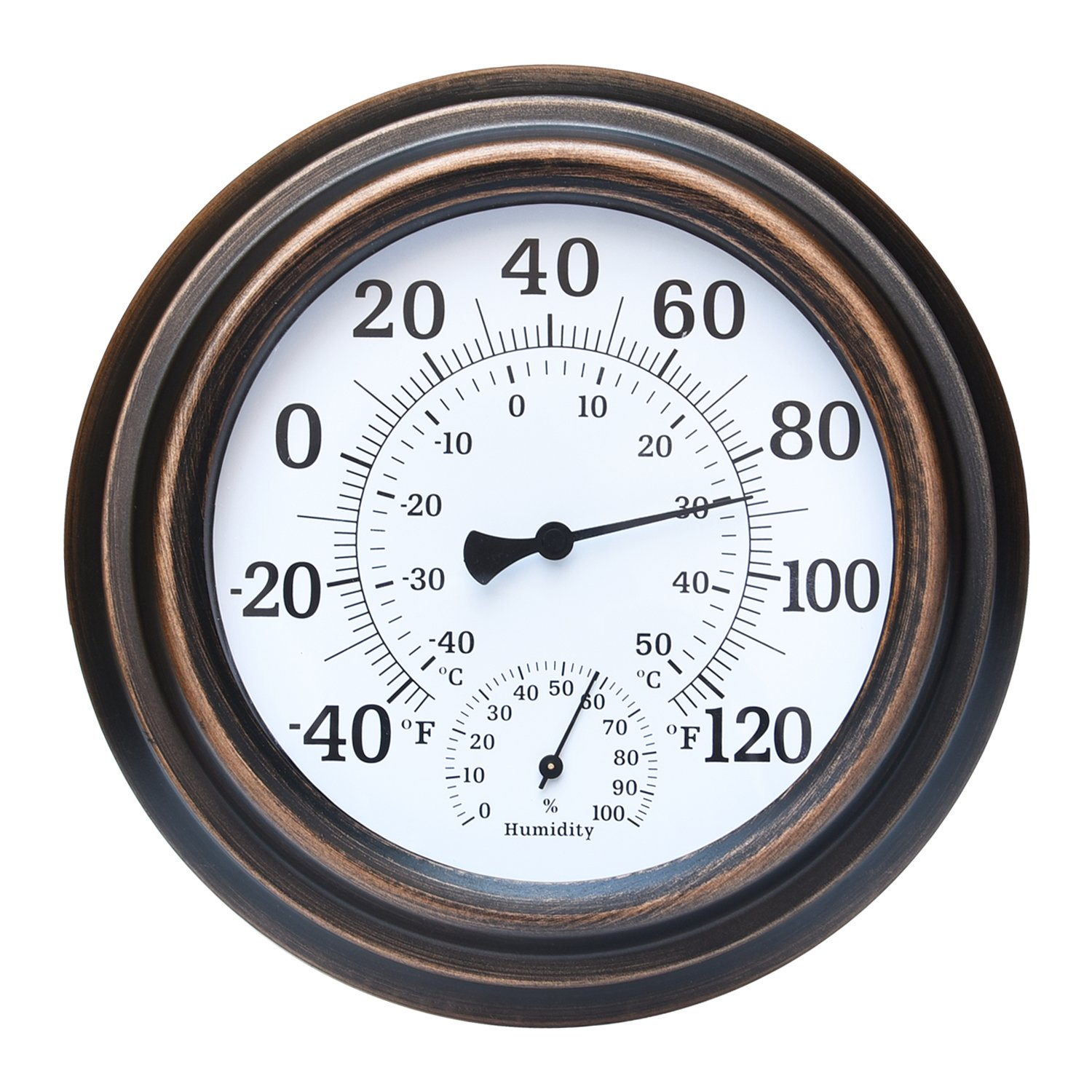 FyGou 8'' Indoor/Outdoor Thermometer for Room,Decorative,Patio,Garden,Wall Hygrometer Thermometer (Bronze)