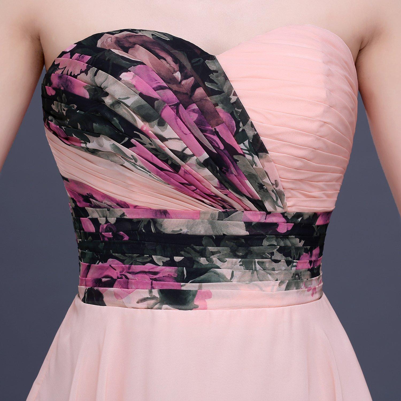 YipGrace Mujeres Elegantes Impresión Vestido Cortos De Fiesta Pink ...