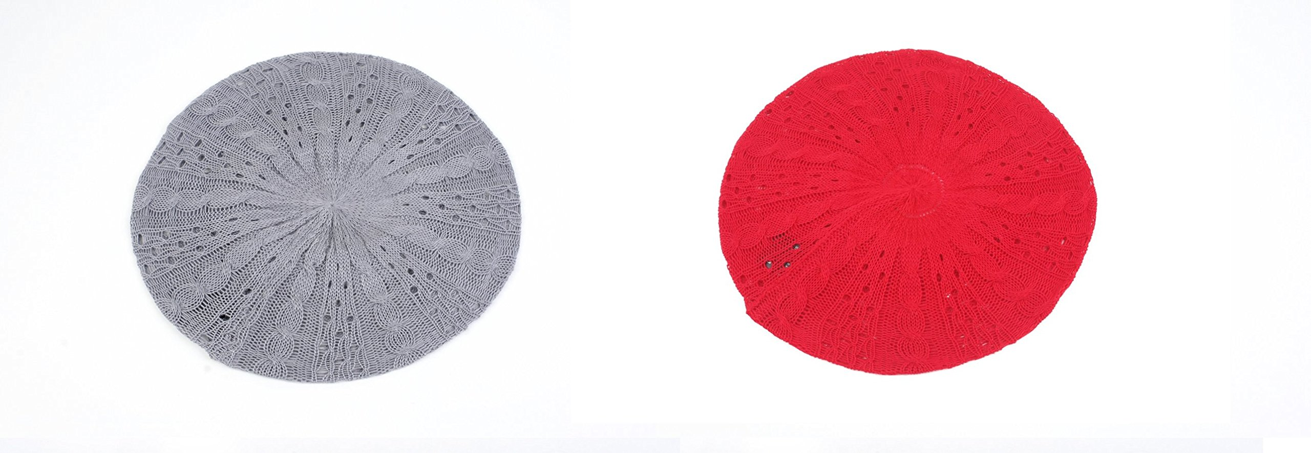 Women's Light Beret Knitted Style for Spring Summer Fall 139HB (2 Pcs Gray & Red)