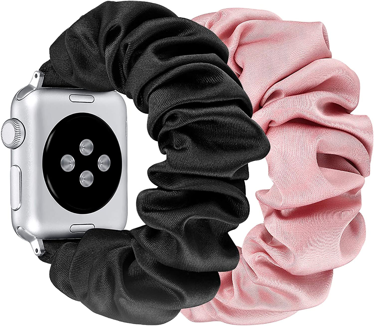fastgo Compatible with Scrunchie Apple Watch Band Series 5/4 38mm/40mm,Women Girl Gift Elastic Bracelet Sport Strap Stretchy Soft Fabric Replacement Wristband for Iwatch 3/2/1 (Pink & Black,38mm/40mm)