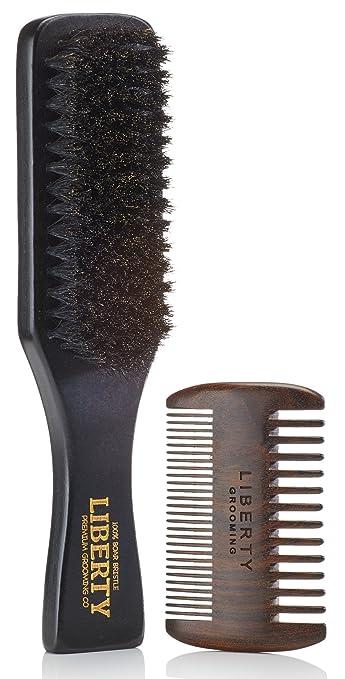 amazon com beard brush boar bristle beard brush and comb set