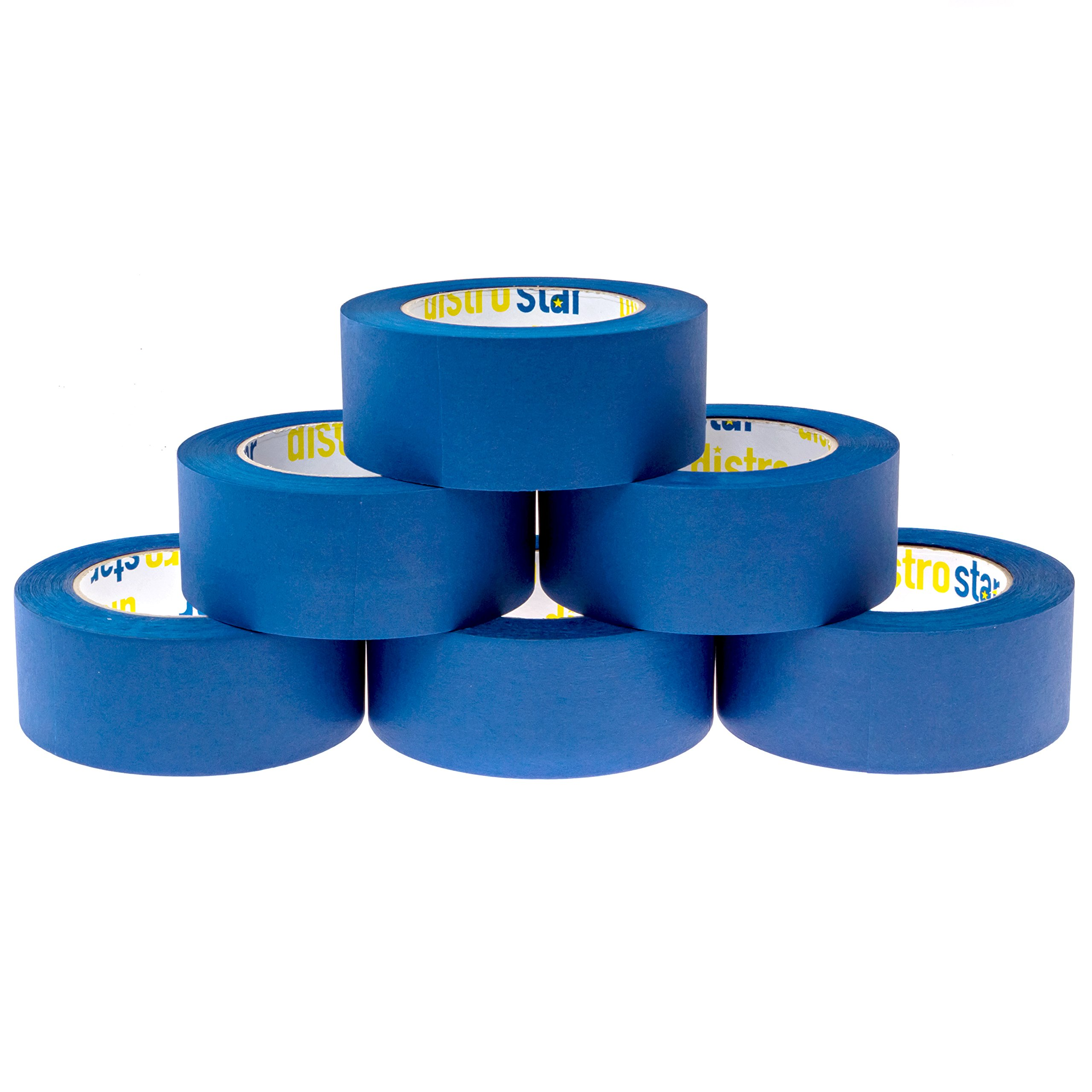 Painter's Tape Blue 2 inch (1.88 in x 60 yd) 6 Roll Contractor Pack UV Protection 21 Day Easy Peel Perfect Lines Humidity Resistant Paint Like A PRO Professional Painter Premium Quality Masking Value