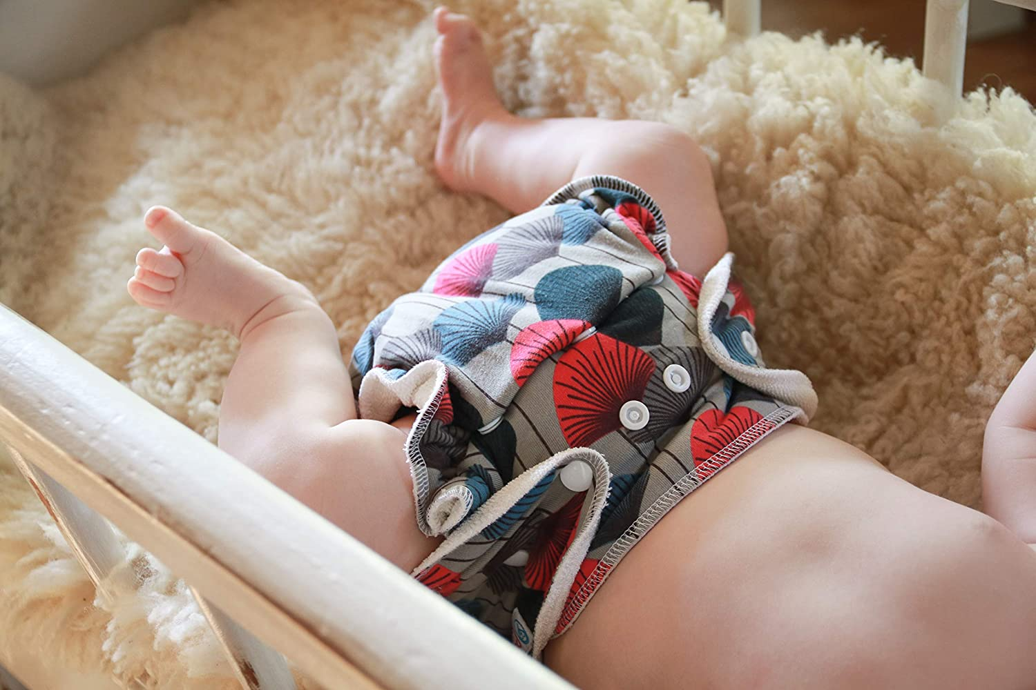 Snaps Reusable /& Washable Petit Lulu Bamboo Fitted One Size Diaper Savanna Made in Europe