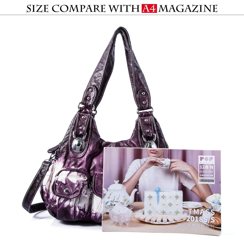 Handbag Hobo Women Handbag Roomy Multiple Pockets Street ladies' Shoulder Bag Fashion PU Tote Satchel Bag for Women (W7127Z Pureple) by Angel Kiss (Image #2)