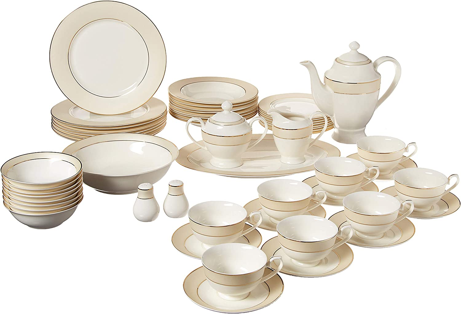 Lorren Home Trends La Luna Bone China 57-Piece Beige Border with 24K Gold Trim Dinnerware Set, Service for 8