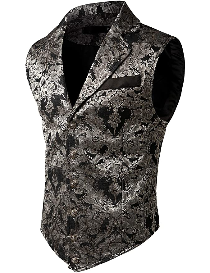 Men's Steampunk Clothing, Costumes, Fashion VATPAVE Mens Victorian Suit Vest Steampunk Gothic Waistcoat $32.99 AT vintagedancer.com