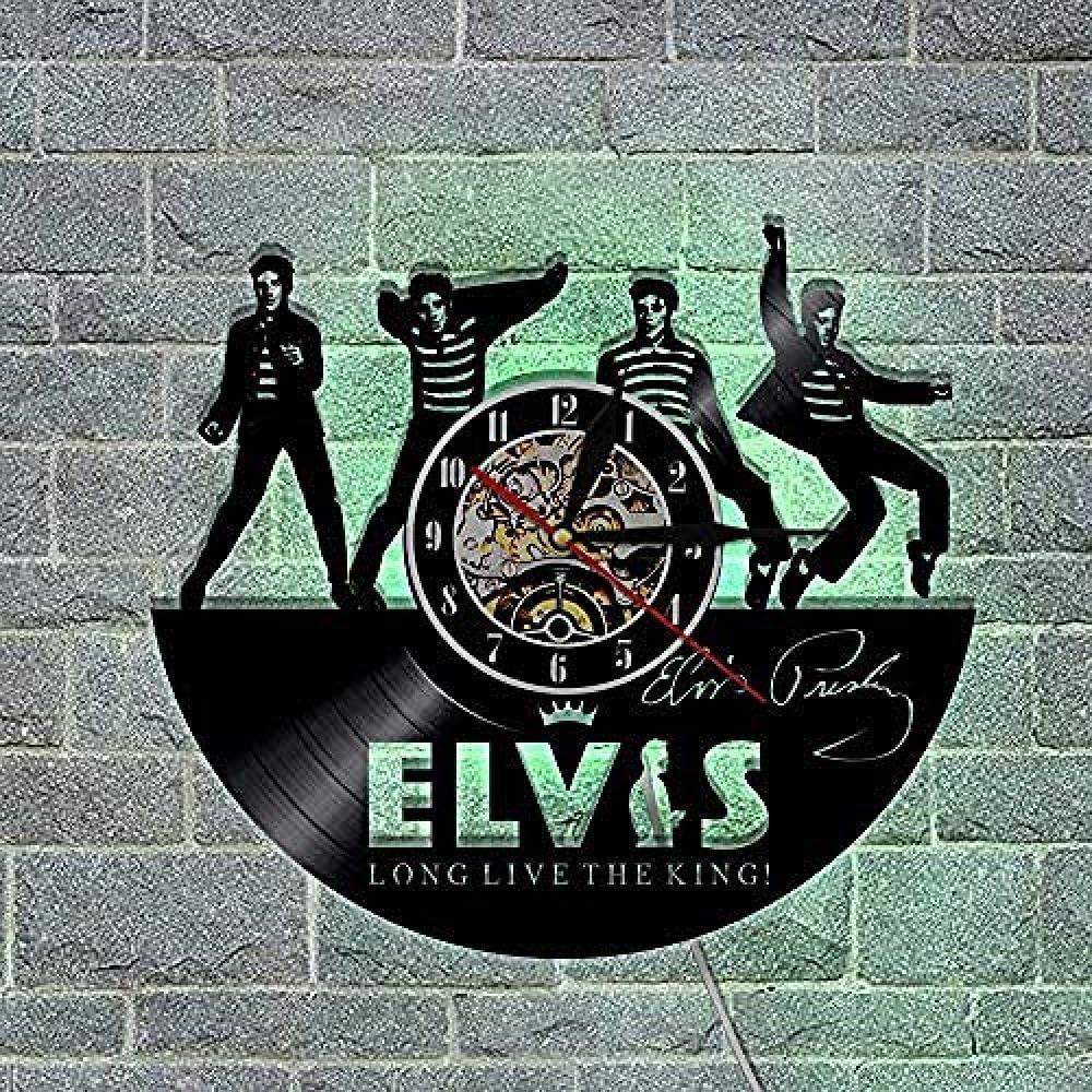 clockfc Horloge Horloge Murale//1 pi/èce Elvis Vinyle LP Record Horloge Murale avec LED lumi/ère vive Le Roi Cadeau Fait /à la Main pour Les Fans de d/écoupe Laser Shadow Art