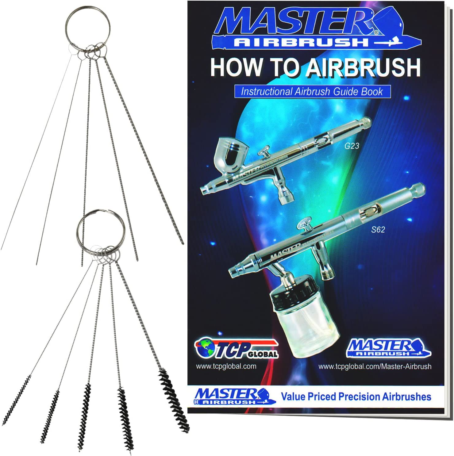 5 pc Cleaning Needles 5 pc Cleaning Brushes How to Book 1 Wash Needle Master Airbrush 12 Piece Airbrush Cleaning Kit
