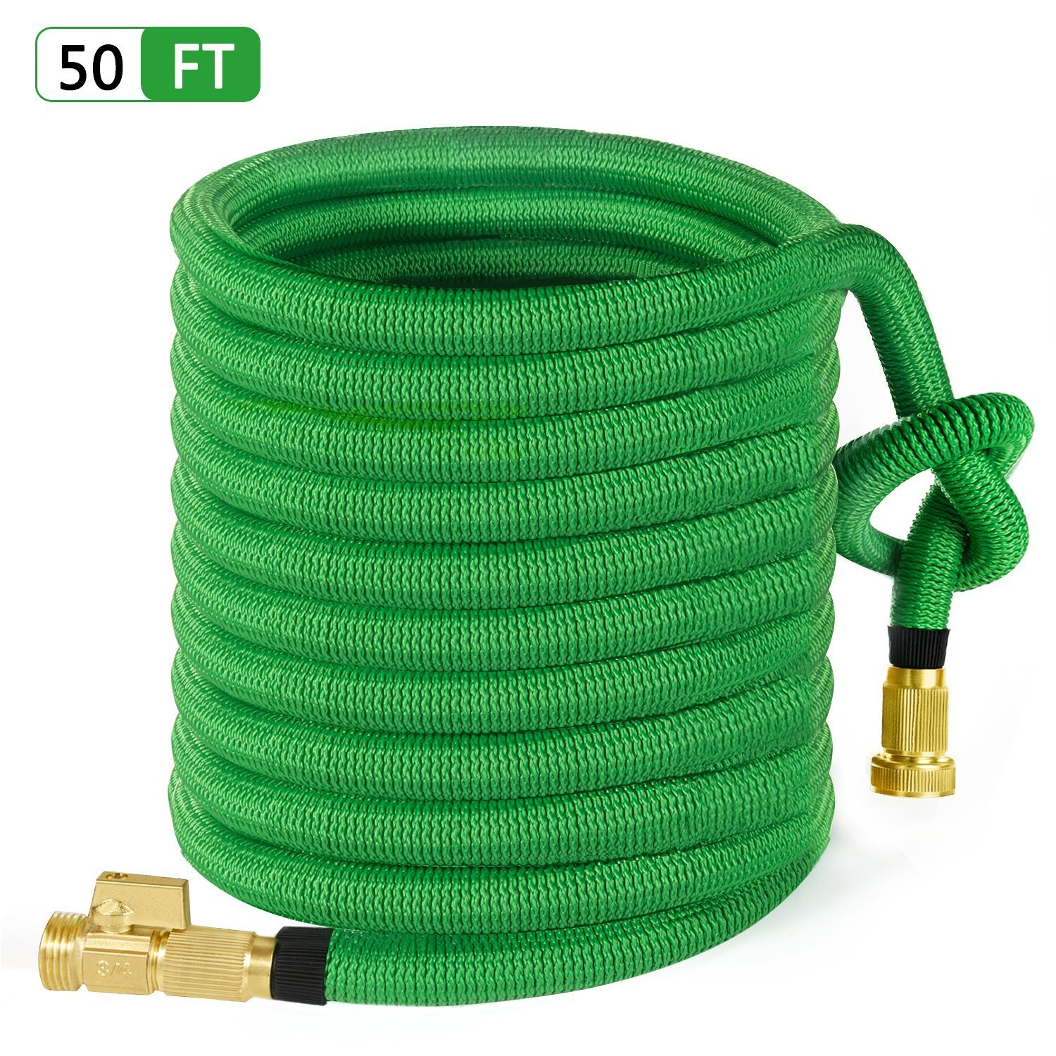 "MoonLa 50ft Garden Hose, All New Expandable Water Hose with 3/4"" Solid Brass Fittings, Extra Strength Fabric - Flexible Expanding Hose with Free Storage Bag"