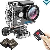EKEN H9R 4k Videocamera Action Camera Wifi Sport Waterproof Impermeabile con 2 batteria + Charging dock + Tripod (Nero)