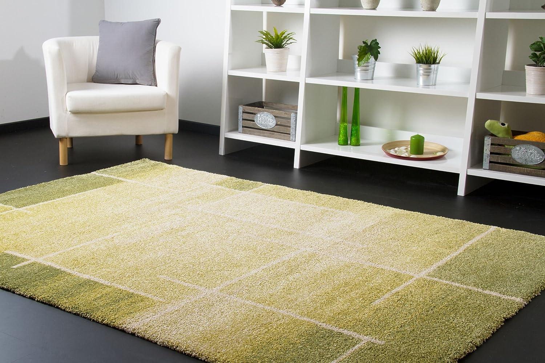 Designer Teppich Modern Seattle Felder in Grün, Größe  200x290 cm