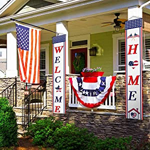 Welcome Home Banner Welcome Home American Patriotic Decorations Bunting Garland Welcome Home Decoration Outdoor Indoor Front Porcl for The Home