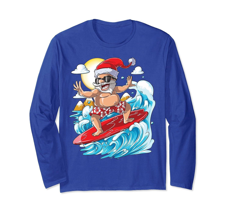 71784fdbf62 Amazon.com  Santa Hawaiian Surfing T Shirt Christmas Summer Surf Hawaii   Clothing