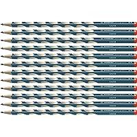 Crayon graphite - STABILO EASYgraph S - Lot de 12 crayons ergonomiques fins HB (bleu ardoise) - Droitier