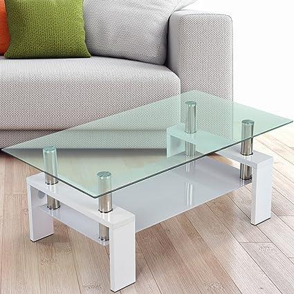 Miadomodo Tavolino da salotto moderno con due lastre di vetro colore ...