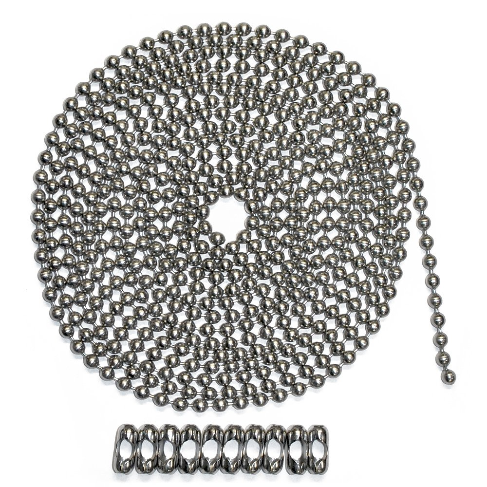 Number 10 Size Aluminum 10 Foot Length Ball Chain 10 Matching B Couplings