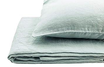 """Bettwäsche-Set 100/% Leinen /""""Stonewashed/"""" 200x200, 2St. 80x80 cm Moosgrün"""