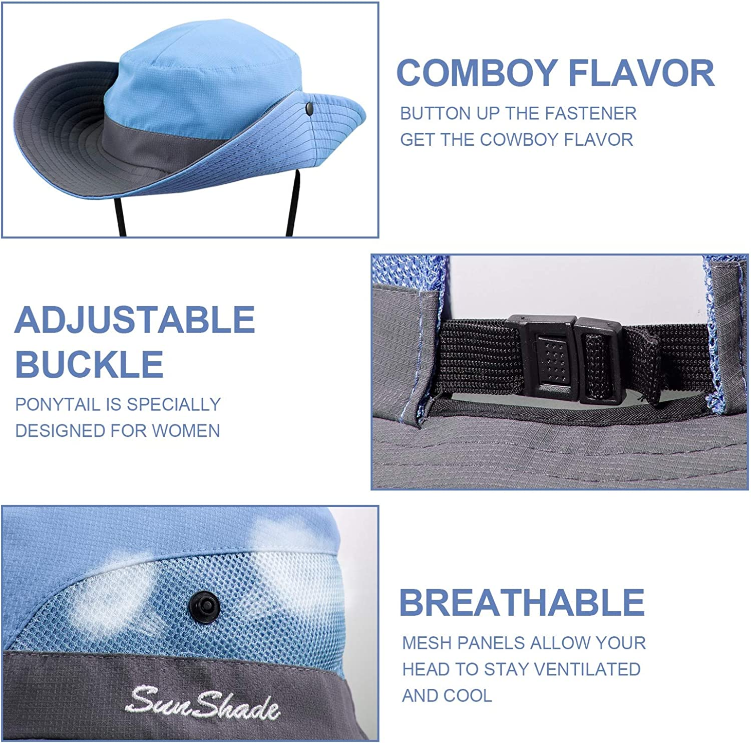 Size 21-23 inch 2 Pieces Womens Outdoor Sun Hat UV Protection Foldable Blue