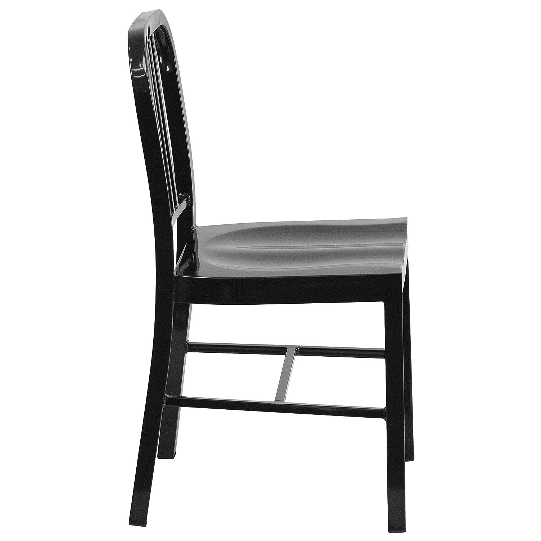 Flash Furniture Black Metal Indoor-Outdoor Chair