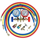 5FT AC Gauge Set for R134A R12, R22, R502 Refrigerants, with Couplers and Can Tap