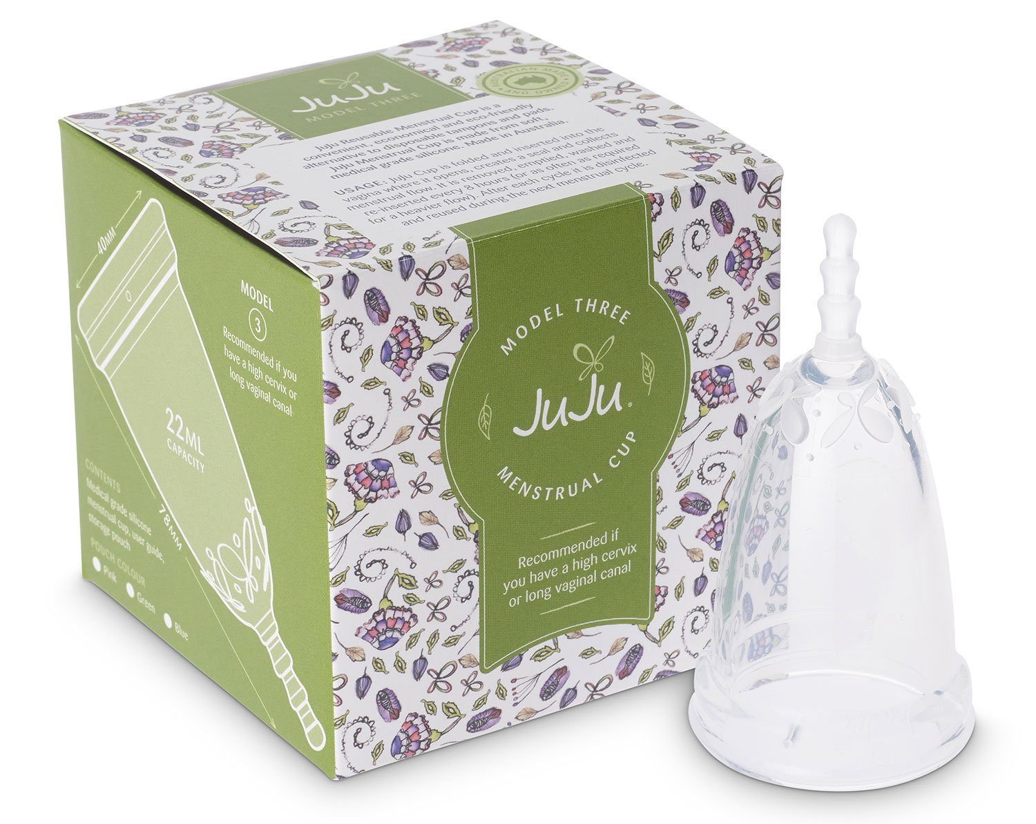 Menstrual Cup by Juju. The Australian Made FDA Registered Period Cup. Alternative to Tampons & Pads. Reusable Medical Grade Silicon in 4 Sizes. …