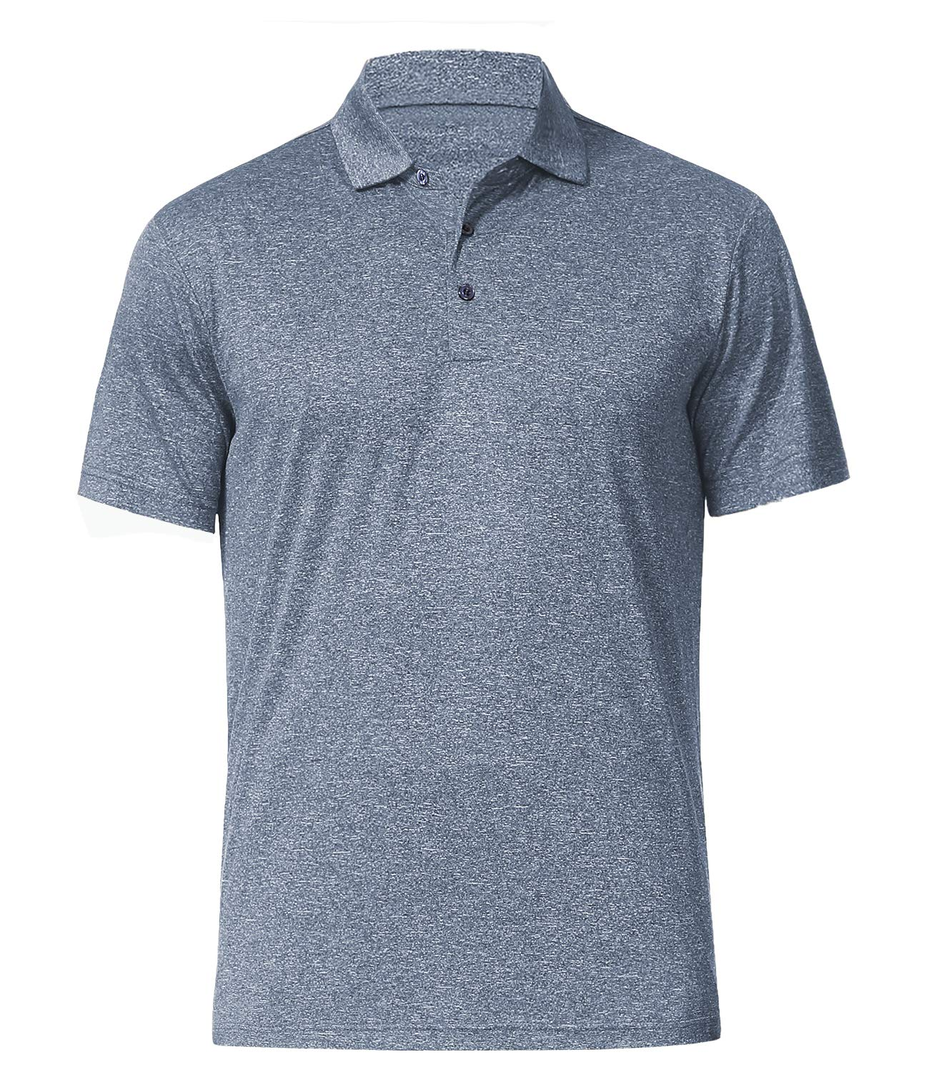 Men's Athletic Golf Polo Shirts, Dry Fit Short Sleeve Workout Shirt (M, Pewter) by COSSNISS