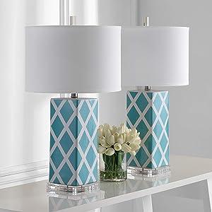 Safavieh Lighting Collection Garden Lattice Light Blue 27-inch Table Lamp (Set of 2)