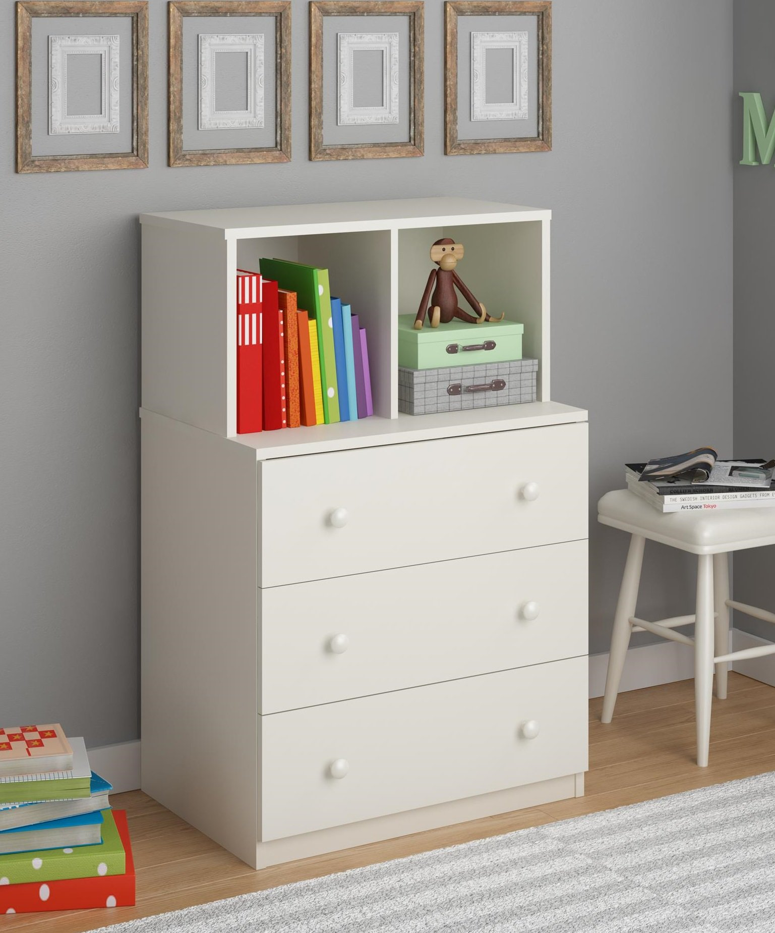 Ameriwood Home Skyler 3 Drawer Dresser with Cubbies, White by Ameriwood Home (Image #6)