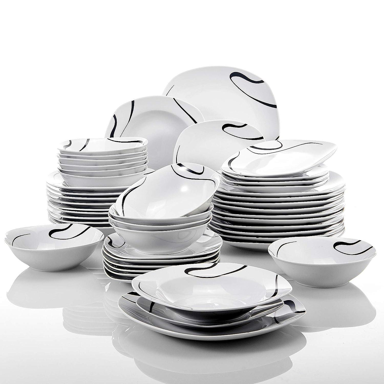 Assiette Creuse Assiette VEWEET série Kayla,Service de Table en Porcelaine Service Vaisselle DE 48 pièces 12 Bols de céréales chacun Assiette à Dessert VEWEET série /' Kayla/'