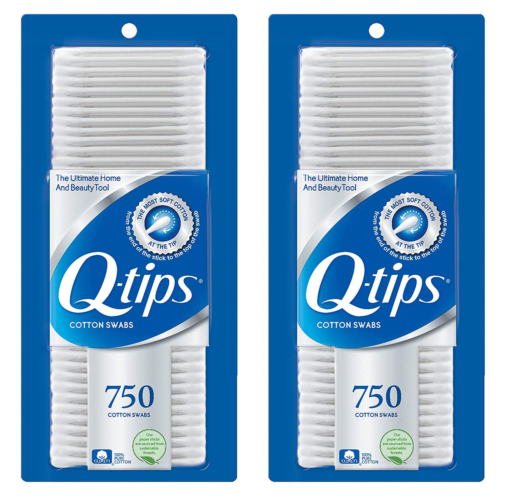 Q, Tips Cotton Swabs, 750 ct., 2 Pack