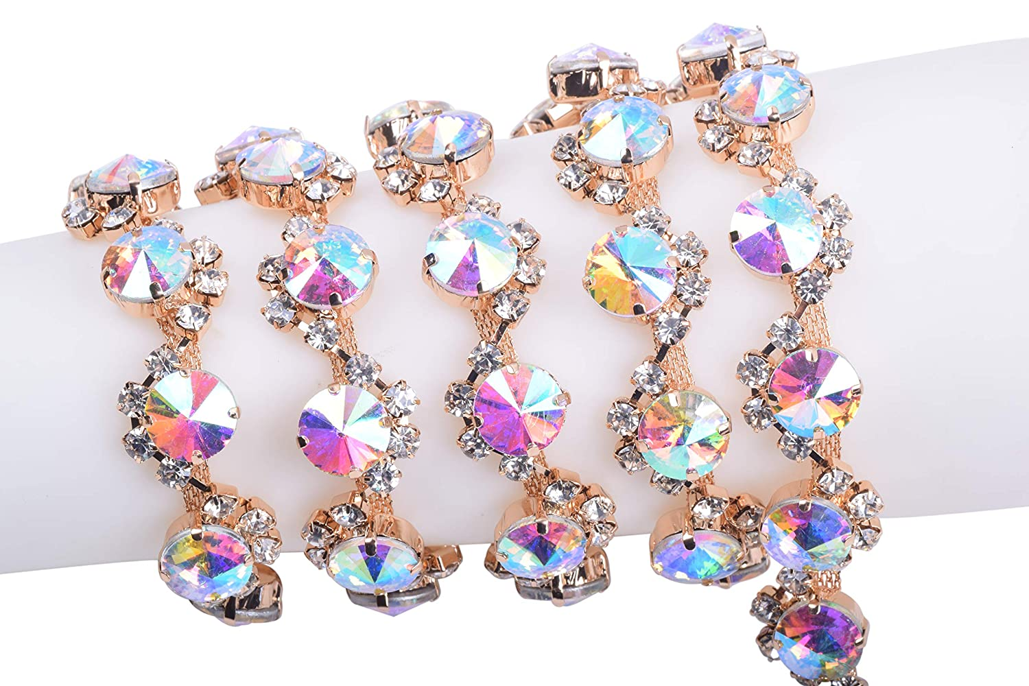 KAOYOO 1 Yard Crystal Rhinestone Claw Chains S Shape Winding Sapphire Satellite Stone for Jewelry Crafts DIY,Sewing Craft