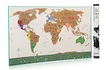 Amazoncom Scratch Off World Map Poster With US States Outlined