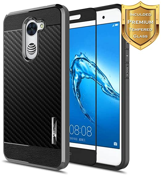 info for 66e45 575b5 NageBee for Huawei Ascend XT 2 Case with [Full Cover Tempered Glass Screen  Protector] [Frost Clear] [Carbon Fiber] Slim Soft Cover Case for Huawei ...