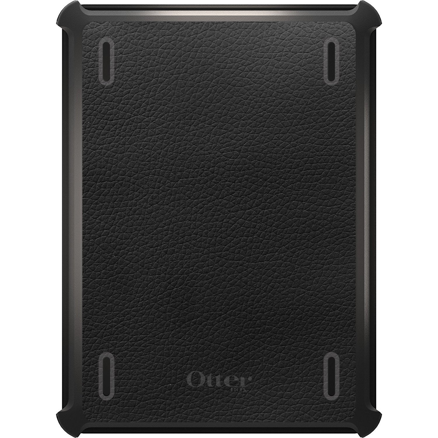 DistinctInk Case Compatible with iPad Pro 12.9'' (3rd Gen - 2018) - Custom Black OtterBox Defender - Works with Apple Pencil - Black Faux Leather Print Design - Printed Faux Leather Image