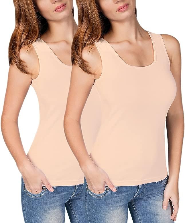 Damen Tops in 10 Farben 2er Pack Ärmelloses Trägerhemd Tank Shirts Tops