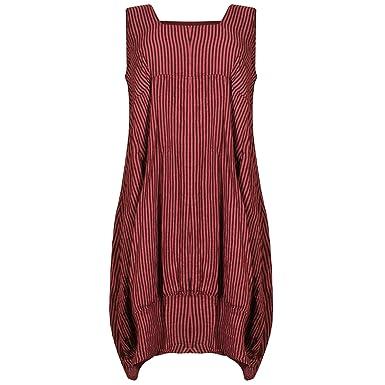 303094f8503 Karma Ladies Womens Lagenlook Boho Sleeveless Thin Striped Wide Flared Maxi  Midi Dress Italian Linen Cotton
