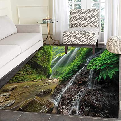 amazon com waterfall area rug carpet waterfalls side valley in
