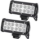 JACKYLED 2-pack 36W Cree Flood LED Beam Light Bars 12V 7 inches Super Bright White 6000K 4000 lms for Jeeps Off-road Vehicles ATVs SUVs Marine