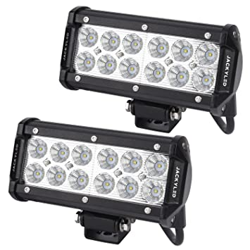 Jackyled 2 pack 36w cree flood led beam light bars 12v 7 inches jackyled 2 pack 36w cree flood led beam light bars 12v 7 inches super bright mozeypictures Images