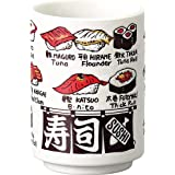 宗峰窯 寿司 湯のみ 寿司ネタ 英語 切立 中 φ7.2×10.2cm 488-29-483