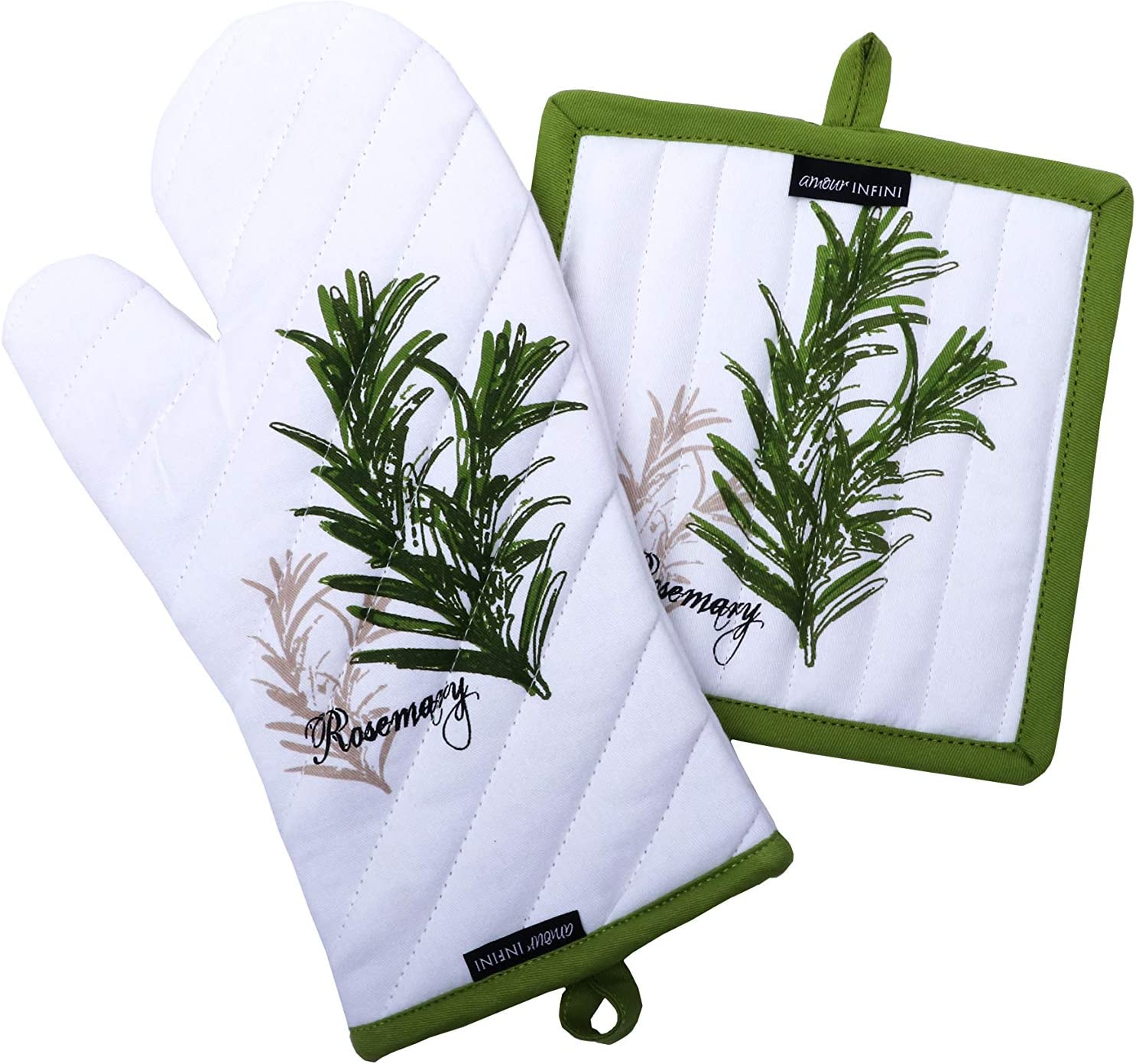 Amour Infini Pot Holders and Oven Mitts, Unique Herb Garden Design, Heat Resistant, 100% Cotton, Set of 1 Oven Mitt and 1 Pot Holder
