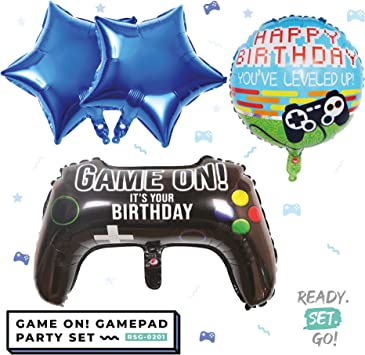 5 Pieces Video Game Banner Video Game Party Balloons Game on Balloons Video Game Controller Aluminum Foil Balloon and Happy Birthday Banner for Birthday Party and Game Party Decoration