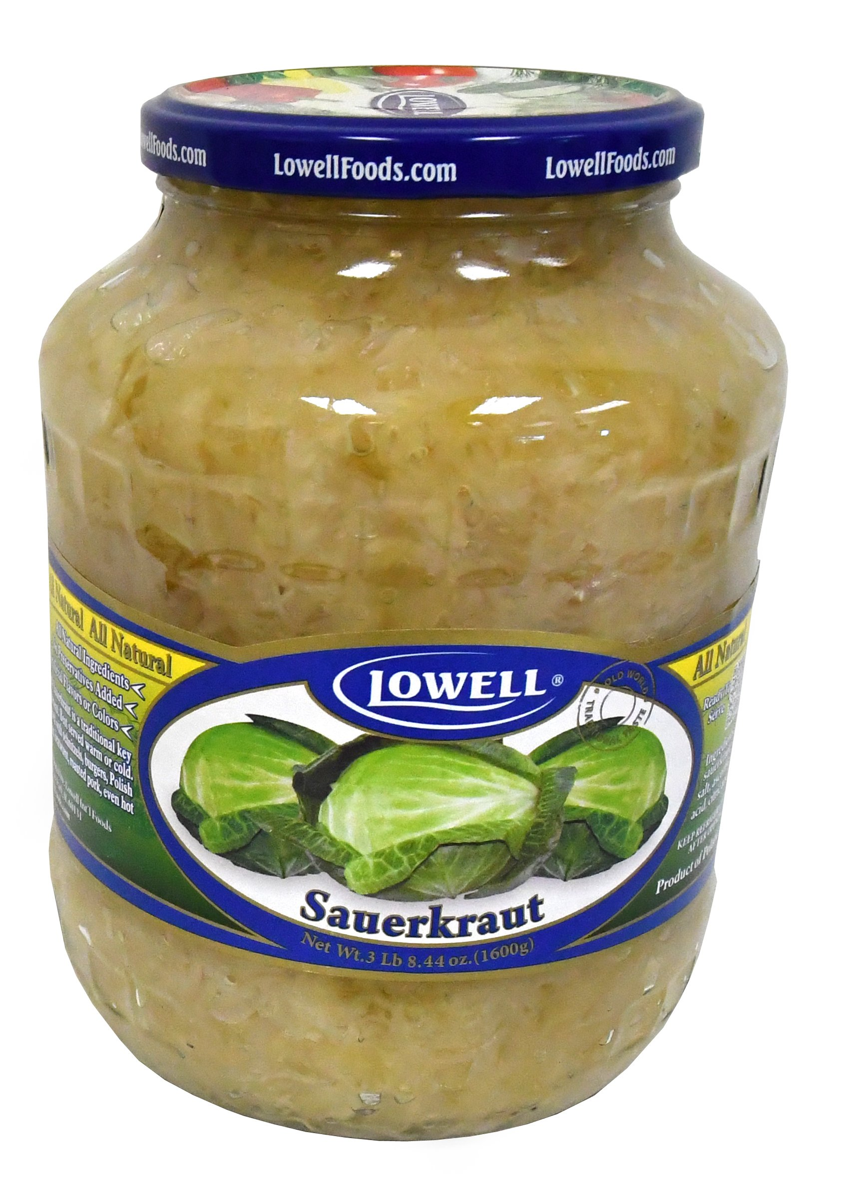 Lowell Foods Sauerkraut 3 Pounds and 8.44 Ounces (1600 Grams) Pack of Two