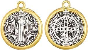30pcs Religious Wear Saint Benedict Medallion Antique Silver and Gold Two Tone Medal Pendant Charms for Necklaces Bracelets(11439)
