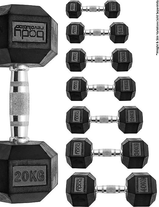Body revolution manubri esagonali – manubri esagonali in gomma e ferro B073ZFSM5B