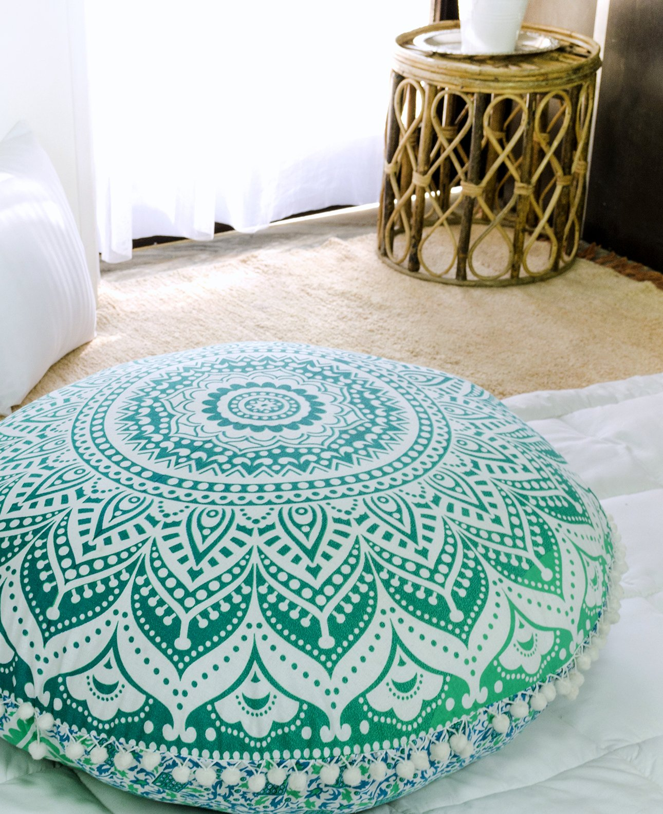 Popular Handicrafts Large Ombre Mandala Round Hippie Floor Pillow - Cushion - Pouf Cover Bohemian Yoga Decor Floor Cushion Case - 32'' Green by Popular Handicrafts (Image #1)