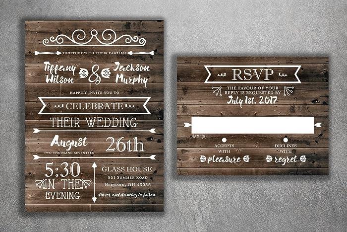 Amazon country wedding invitations set printed rustic wedding country wedding invitations set printed rustic wedding invitations burlap kraft wood filmwisefo
