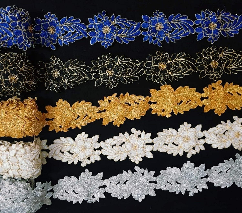 Trim by The Yard Costume Trim Decorative Ribbon Metallic Ribbon Beaded Trim Gold Kundan Lace Crafting Sewing Trimmings Border Black