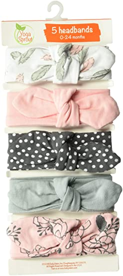 061a1ba5b03ee3 Yoga Sprout Baby Girls' Cotton Headbands, Feather Floral 5Pk, 0-24 Months